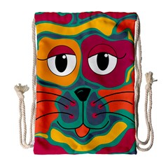 Colorful cat 2  Drawstring Bag (Large)