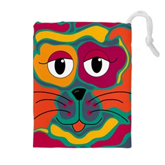 Colorful cat 2  Drawstring Pouches (Extra Large)