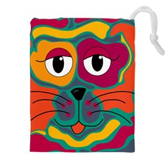 Colorful cat 2  Drawstring Pouches (XXL)