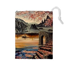 Japanese Lake Of Tranquility Drawstring Pouches (Large)