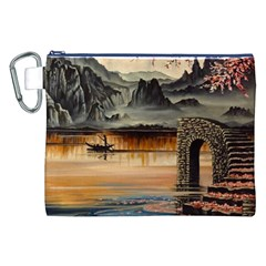 Japanese Lake Of Tranquility Canvas Cosmetic Bag (XXL)