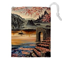 Japanese Lake Of Tranquility Drawstring Pouches (XXL)