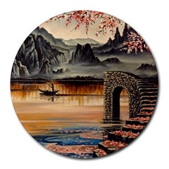 Japanese Lake Of Tranquility Round Mousepads