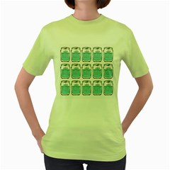 Beer Pattern Drawing Women s Green T-Shirt