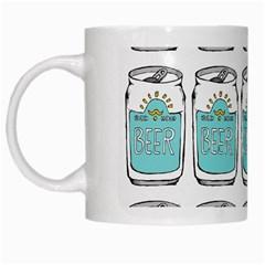 Beer Pattern Drawing White Mugs