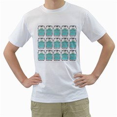 Beer Pattern Drawing Men s T-Shirt (White) (Two Sided)