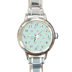 Butterfly Pastel Insect Green Round Italian Charm Watch