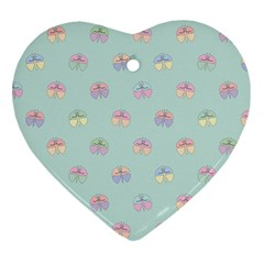 Butterfly Pastel Insect Green Ornament (Heart)