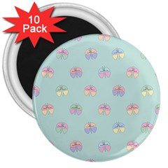 Butterfly Pastel Insect Green 3  Magnets (10 pack)