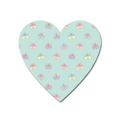 Butterfly Pastel Insect Green Heart Magnet