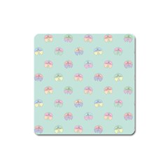 Butterfly Pastel Insect Green Square Magnet