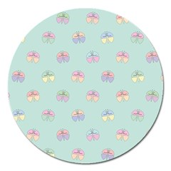 Butterfly Pastel Insect Green Magnet 5  (Round)
