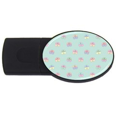 Butterfly Pastel Insect Green USB Flash Drive Oval (4 GB)
