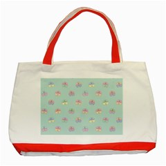 Butterfly Pastel Insect Green Classic Tote Bag (Red)