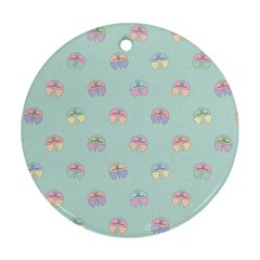 Butterfly Pastel Insect Green Round Ornament (Two Sides)