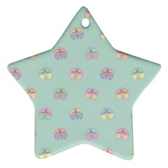Butterfly Pastel Insect Green Star Ornament (Two Sides)