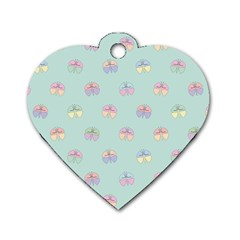 Butterfly Pastel Insect Green Dog Tag Heart (One Side)