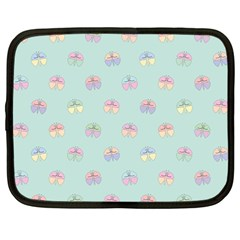 Butterfly Pastel Insect Green Netbook Case (Large)