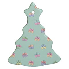 Butterfly Pastel Insect Green Christmas Tree Ornament (2 Sides)