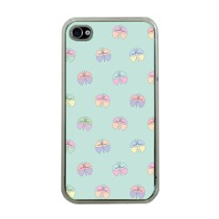 Butterfly Pastel Insect Green Apple iPhone 4 Case (Clear)