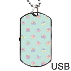 Butterfly Pastel Insect Green Dog Tag USB Flash (One Side)