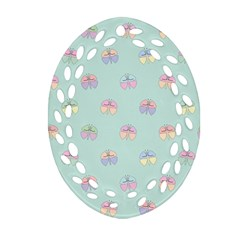 Butterfly Pastel Insect Green Oval Filigree Ornament (2-Side)