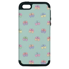 Butterfly Pastel Insect Green Apple iPhone 5 Hardshell Case (PC+Silicone)