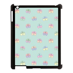 Butterfly Pastel Insect Green Apple iPad 3/4 Case (Black)