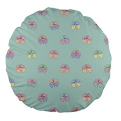 Butterfly Pastel Insect Green Large 18  Premium Round Cushions