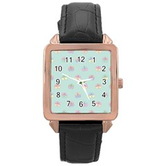 Butterfly Pastel Insect Green Rose Gold Leather Watch