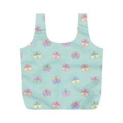 Butterfly Pastel Insect Green Full Print Recycle Bags (M)