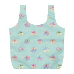 Butterfly Pastel Insect Green Full Print Recycle Bags (L)