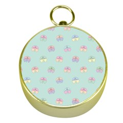 Butterfly Pastel Insect Green Gold Compasses
