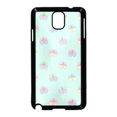 Butterfly Pastel Insect Green Samsung Galaxy Note 3 Neo Hardshell Case (Black)