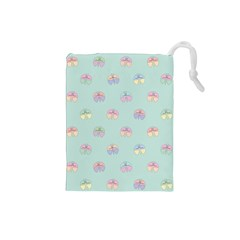 Butterfly Pastel Insect Green Drawstring Pouches (Small)