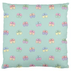 Butterfly Pastel Insect Green Large Flano Cushion Case (Two Sides)