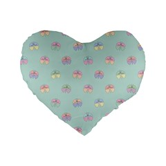 Butterfly Pastel Insect Green Standard 16  Premium Flano Heart Shape Cushions