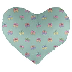 Butterfly Pastel Insect Green Large 19  Premium Flano Heart Shape Cushions