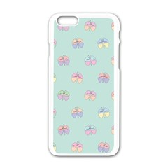 Butterfly Pastel Insect Green Apple iPhone 6/6S White Enamel Case