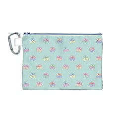 Butterfly Pastel Insect Green Canvas Cosmetic Bag (M)