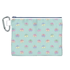 Butterfly Pastel Insect Green Canvas Cosmetic Bag (L)