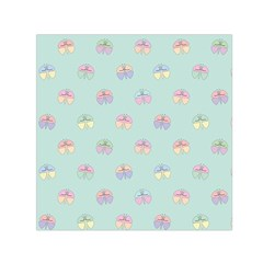 Butterfly Pastel Insect Green Small Satin Scarf (Square)