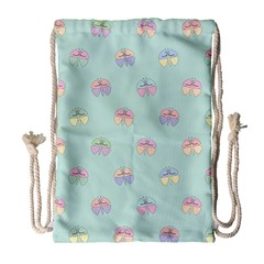 Butterfly Pastel Insect Green Drawstring Bag (Large)
