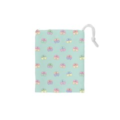 Butterfly Pastel Insect Green Drawstring Pouches (XS)