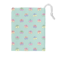 Butterfly Pastel Insect Green Drawstring Pouches (Extra Large)