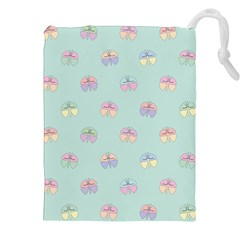 Butterfly Pastel Insect Green Drawstring Pouches (XXL)