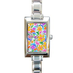 Floral Paisley Background Flower Rectangle Italian Charm Watch