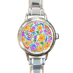 Floral Paisley Background Flower Round Italian Charm Watch