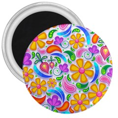 Floral Paisley Background Flower 3  Magnets