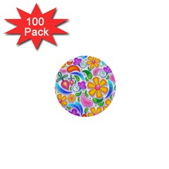 Floral Paisley Background Flower 1  Mini Buttons (100 pack)